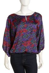 Laundry By Shelli Segal Dolmansleeve Print Blouse - Lyst