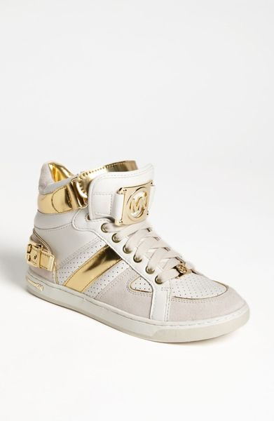 michael michael kors fulton high top sneaker in gold lyst. Black Bedroom Furniture Sets. Home Design Ideas