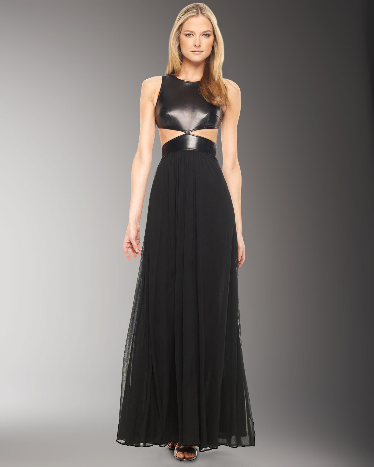 Lyst - Michael Kors Leather Bodice Gown in Black