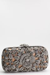 Natasha Couture Crystal Caged Floral Clutch - Lyst