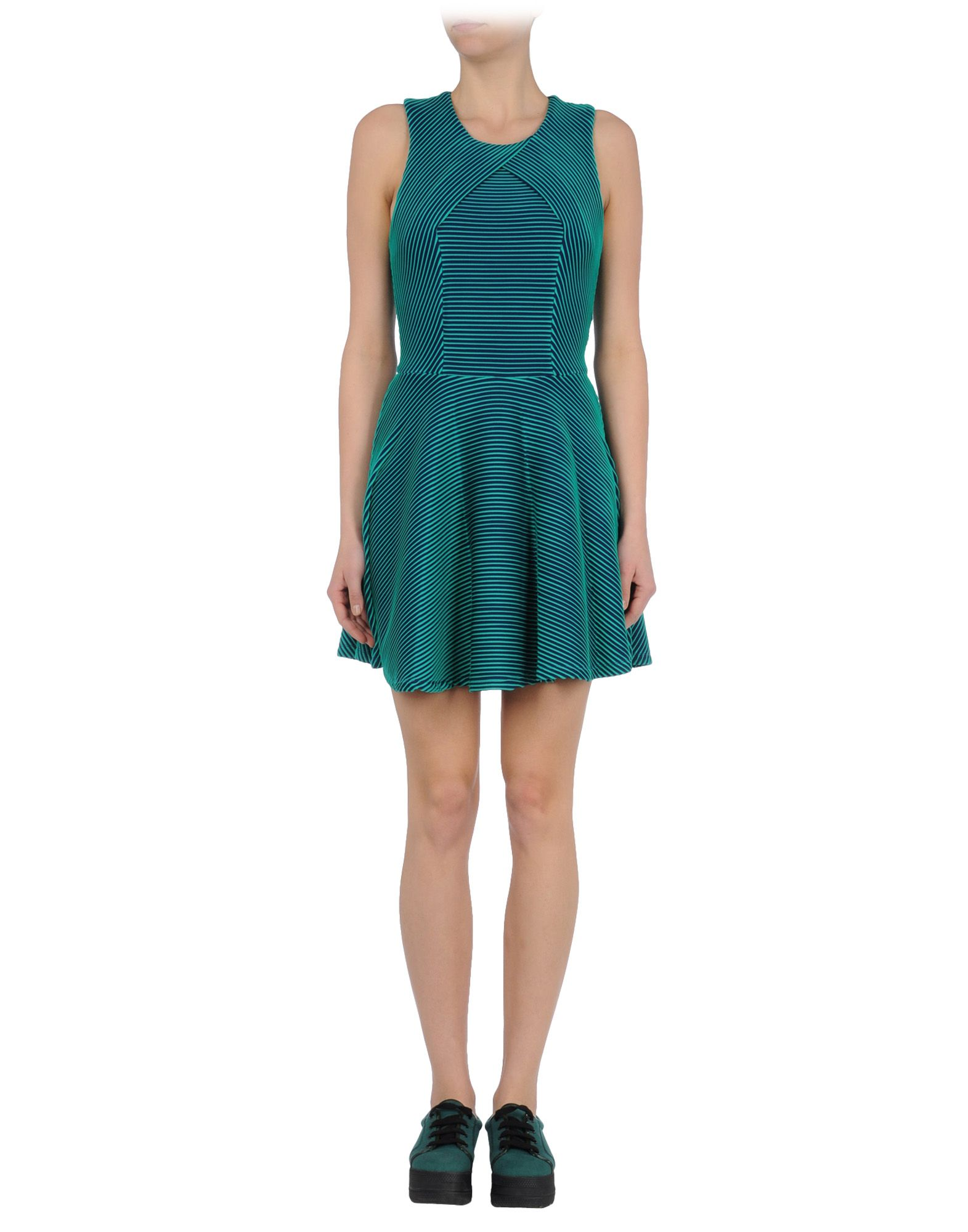 opening ceremony short dress in blue emerald green lyst