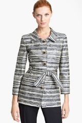 Oscar de la Renta Belted Metallic Tweed Jacket - Lyst