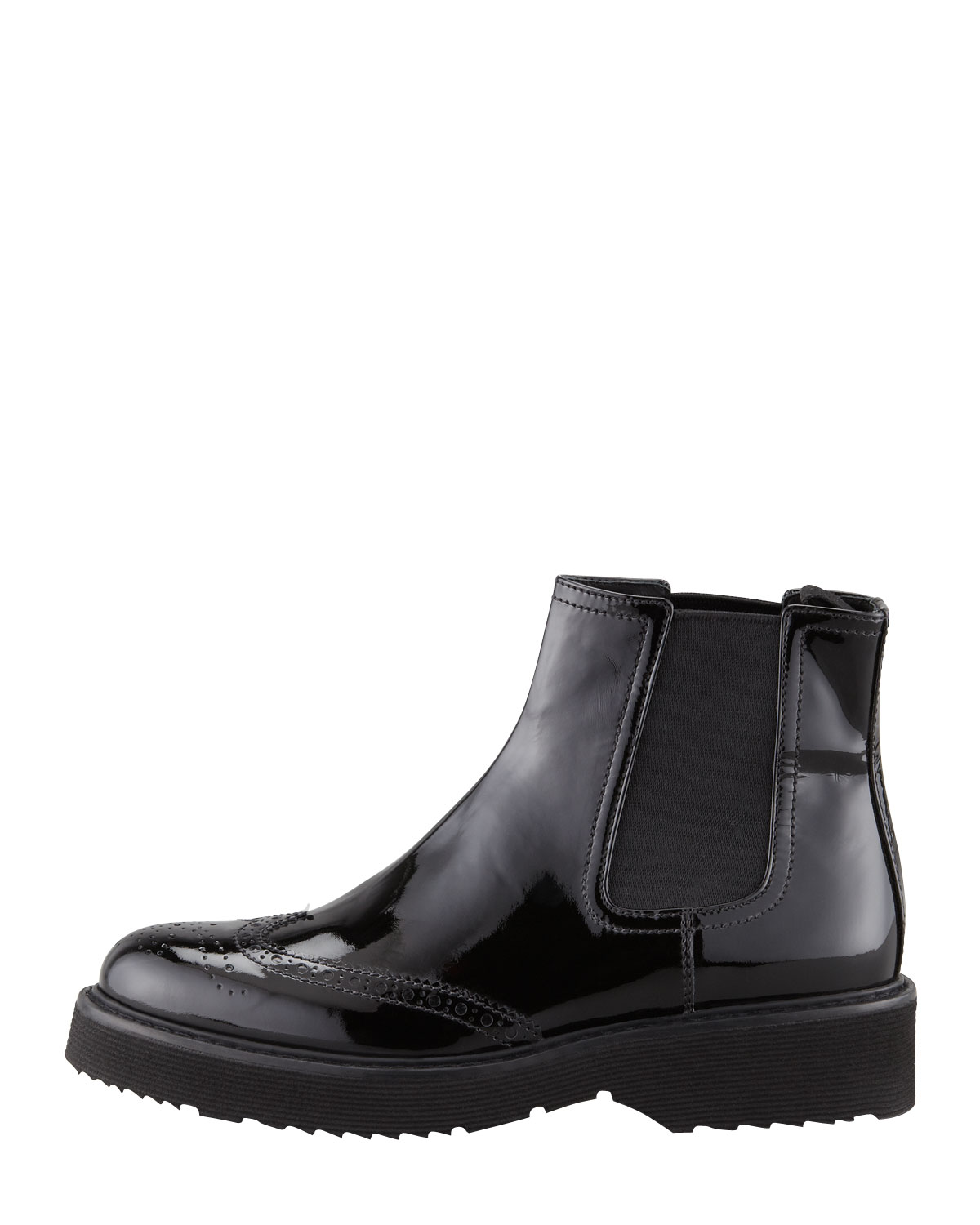 Prada Patent Leather Slipon Ankle Boot Black in Black for Men | Lyst
