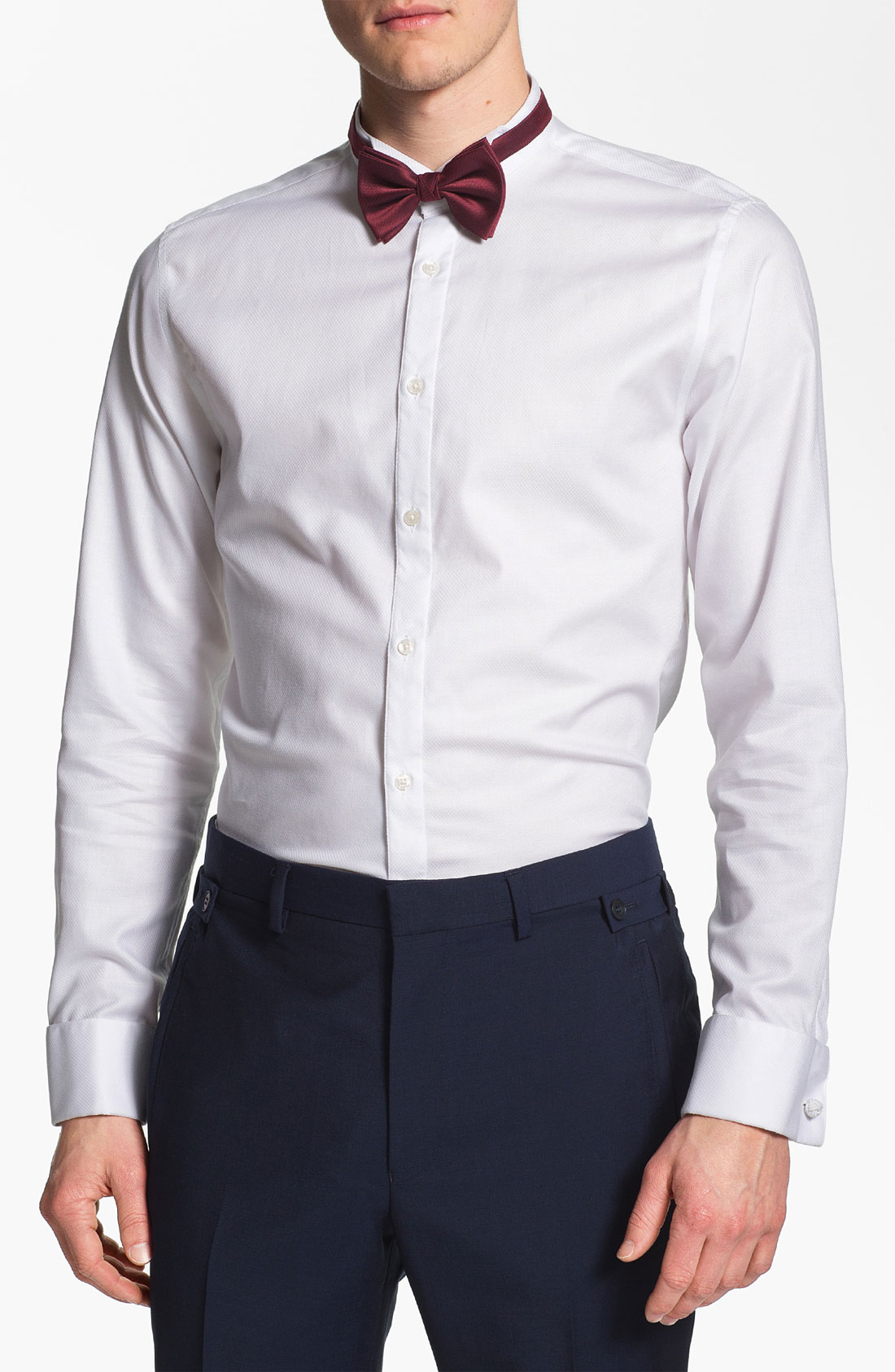 topman lux collection wing collar dress shirt in white for