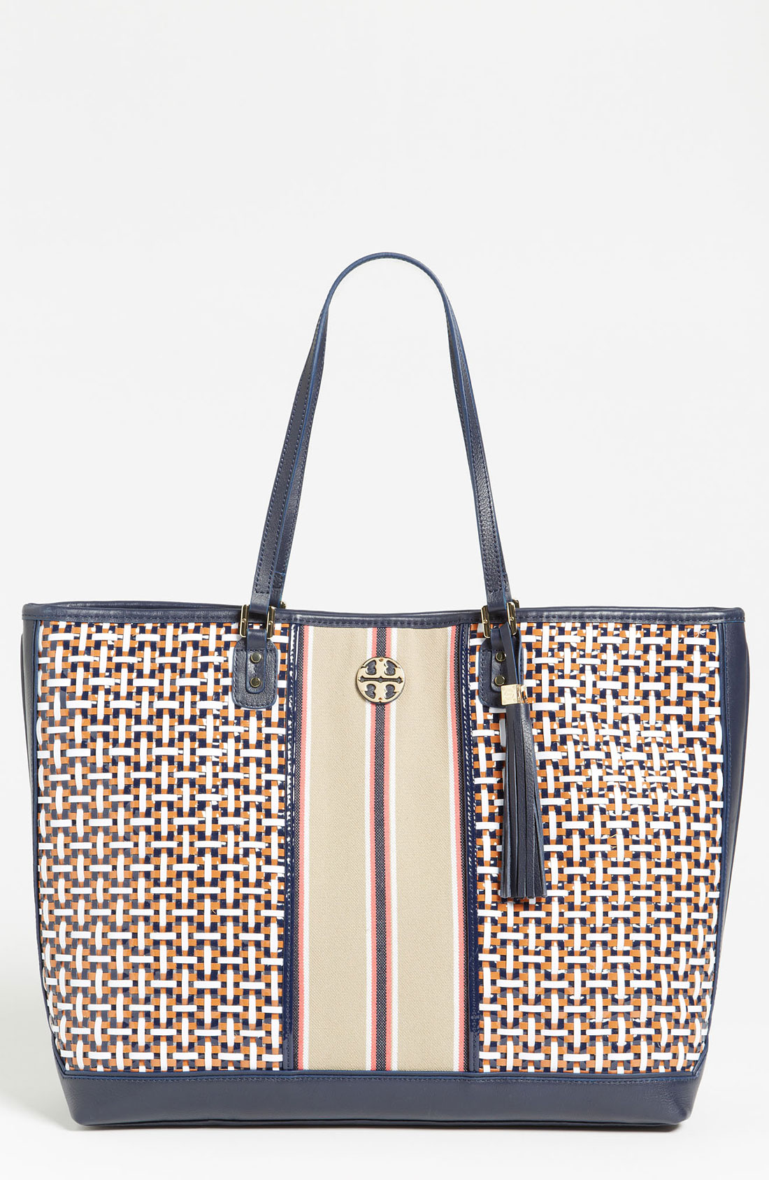 Tory Burch Vintage Logo Tote In Blue Tory Navy Multi Lyst