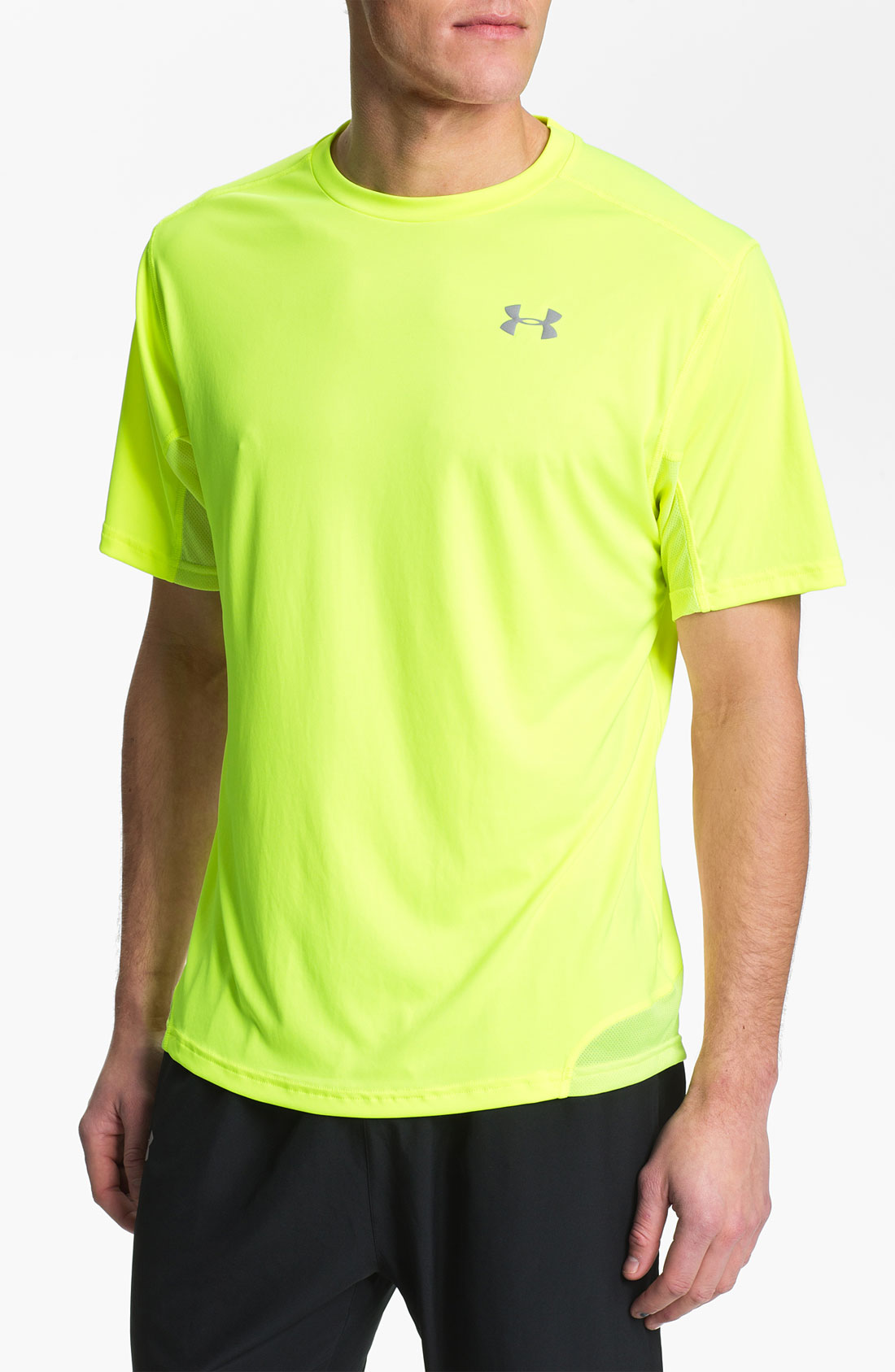 Under armour run heatgear flyweight tshirt in yellow for for Hi viz running shirt