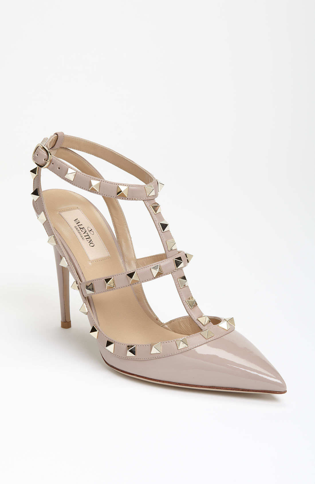 Valentino 'rockstud' T-strap Pump in Beige (end of color ...