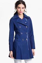 Via Spiga Patent Trim Trench Coat Online Exclusive - Lyst
