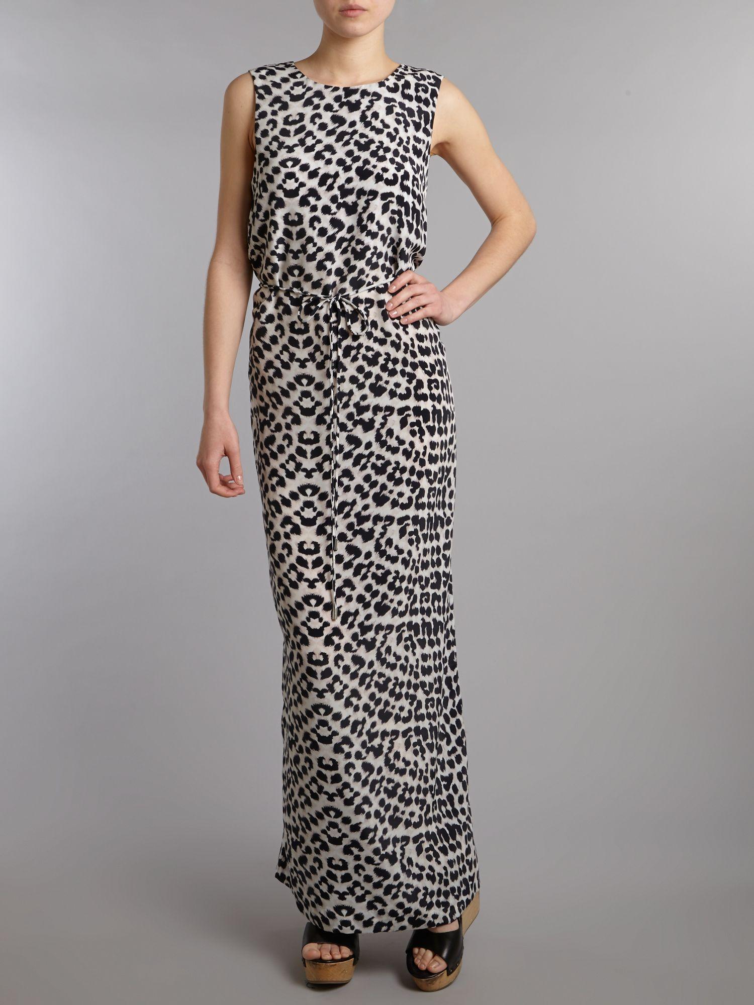 Grey animal print maxi dress