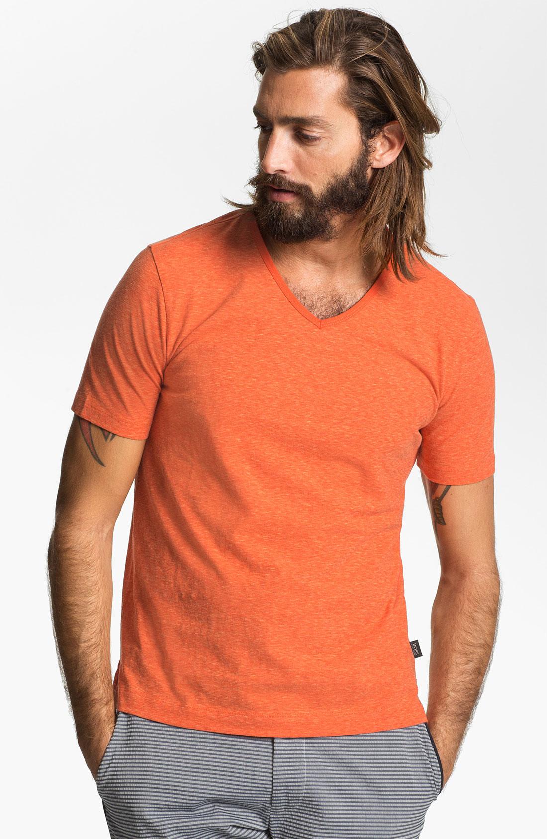 Boss Black Eraldo 53 V Neck T Shirt In Orange For Men