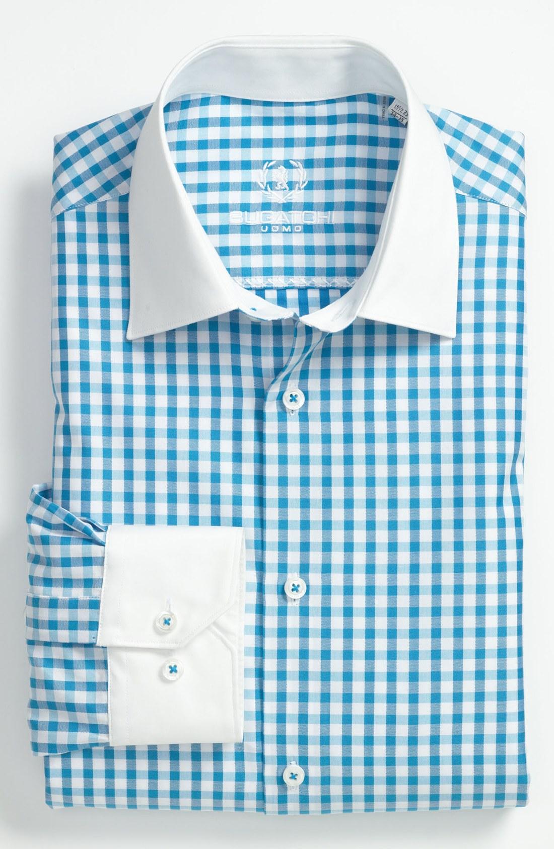 Bugatchi shaped fit dress shirt in blue for men turquoise for Aqua blue mens dress shirt