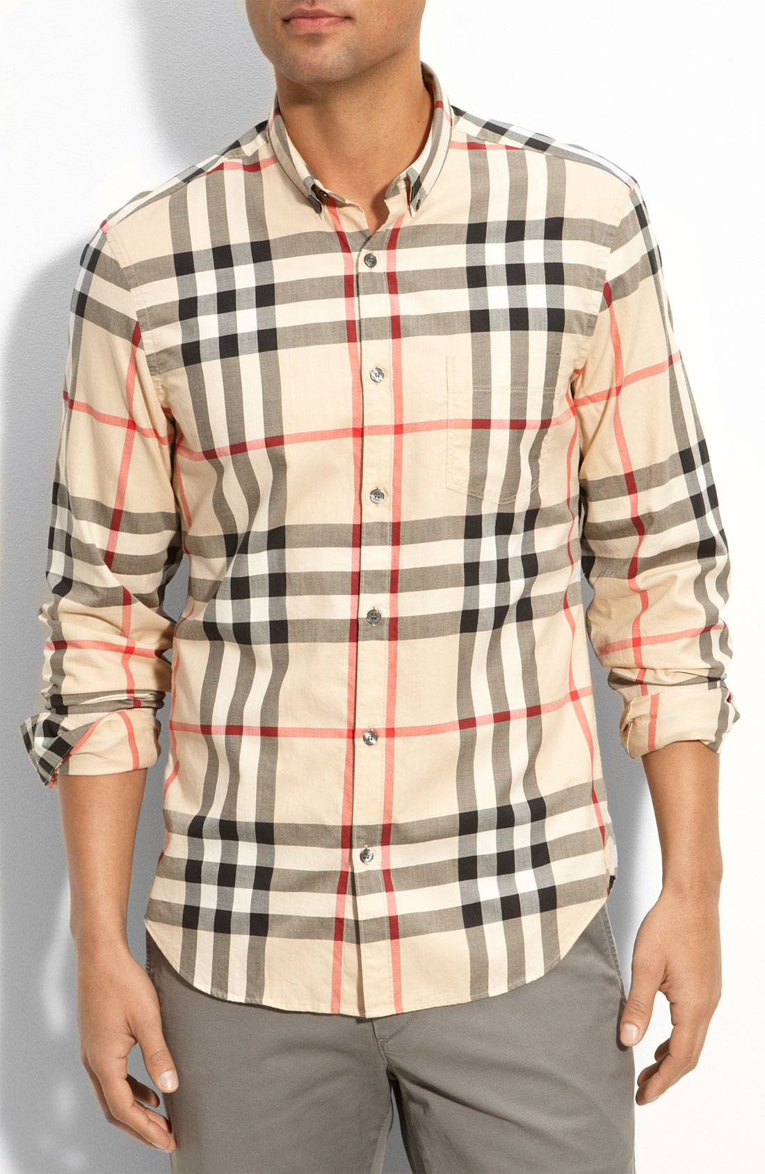 Burberry brit check print cotton button down camel in for Burberry brit checked shirt