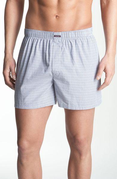 calvin klein boxer shorts in gray for men blue plaid. Black Bedroom Furniture Sets. Home Design Ideas