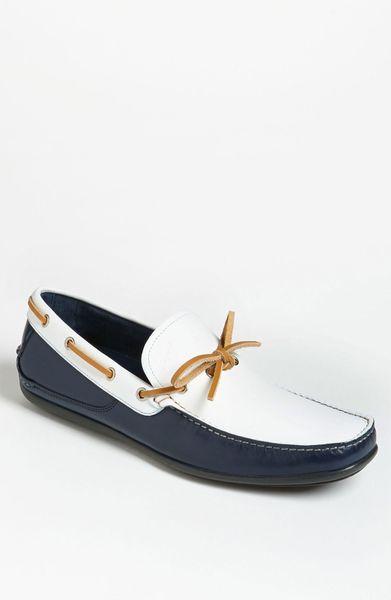 ferragamo mango driving shoe in blue for blue white