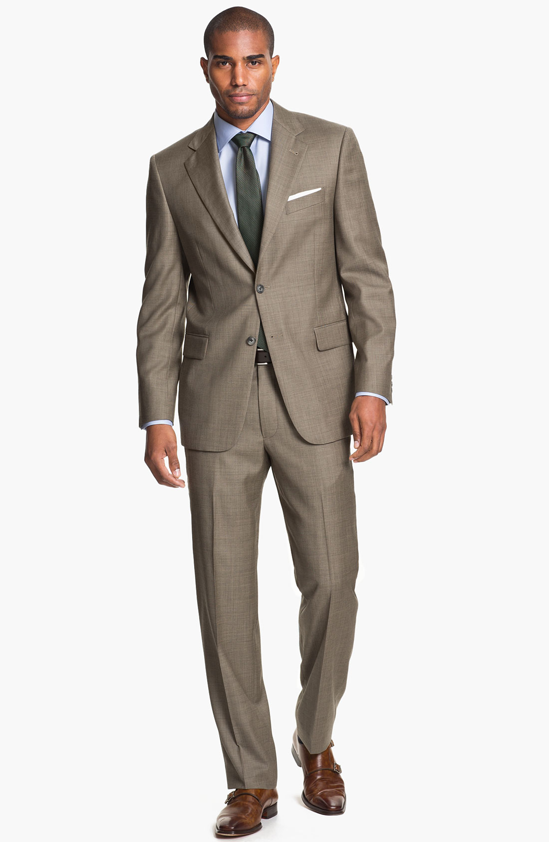 Joseph abboud signature silver wool suit in brown for men for Nordstrom men s dress shirt fit guide