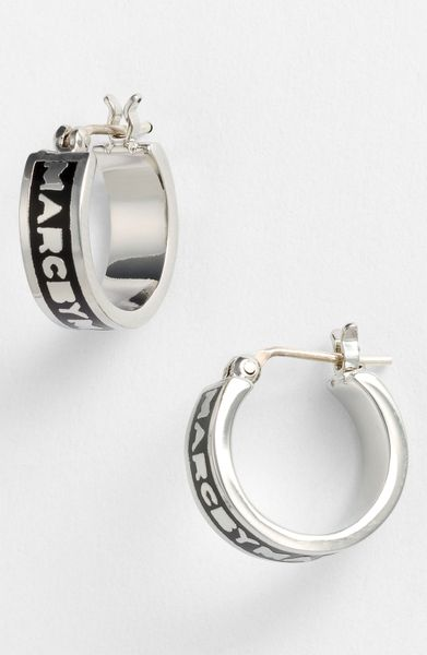 Marc By Marc Jacobs Classic Marc Hoop Earrings in Black (black/ silver) - Lyst