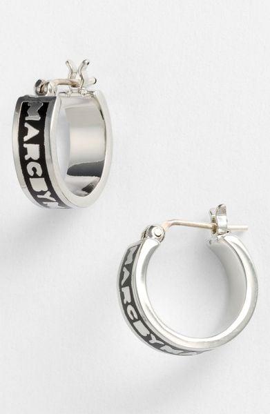 Marc By Marc Jacobs Classic Marc Hoop Earrings in Black (black/ silver)