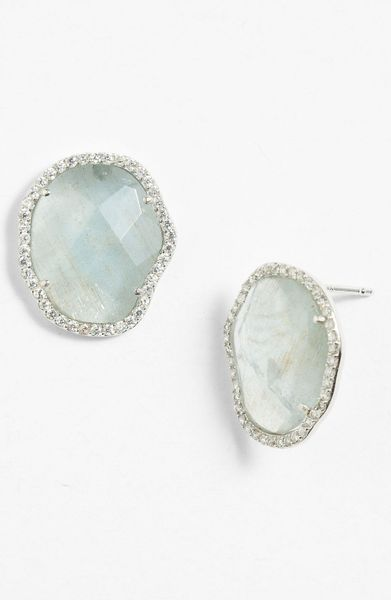 Nadri Stud Earrings in Silver (silver milky aquamarine)