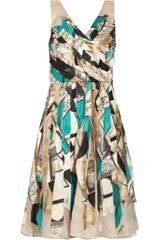 Oscar de la Renta Printed Silk and Organza Dress - Lyst