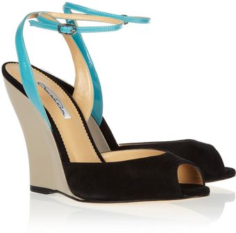 Oscar de la Renta Olga Suede and Patent Leather Wedge Sandals - Lyst