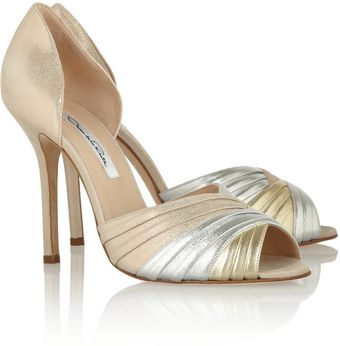 Oscar de la Renta Leather Open Toe Pumps - Lyst
