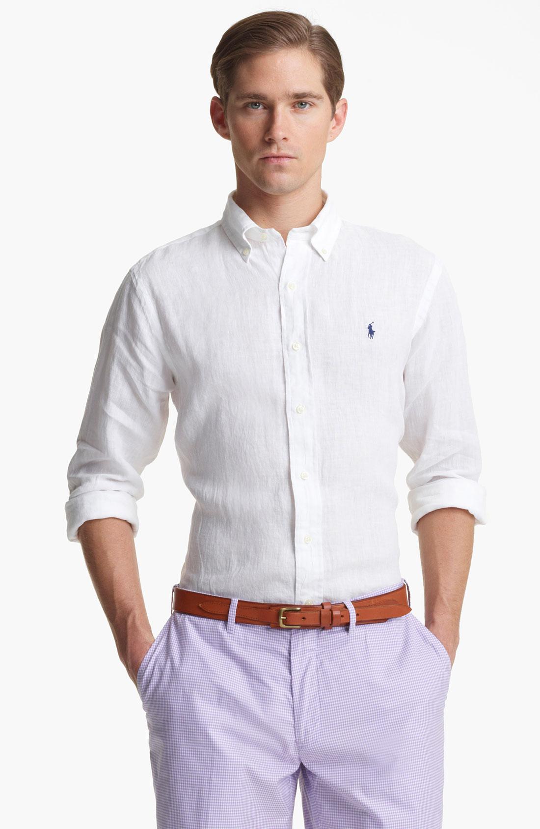 Polo ralph lauren custom fit linen sport shirt in white for Custom made sport shirts