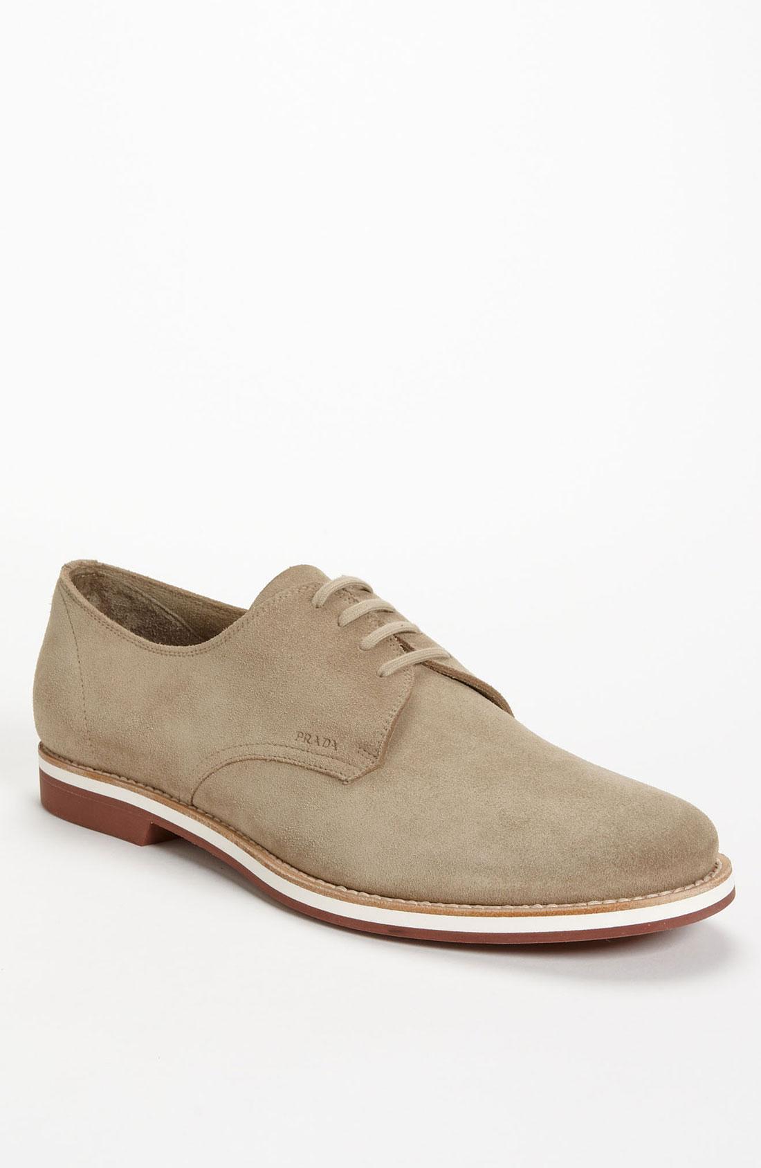 prada suede buck shoe in beige for desert lyst