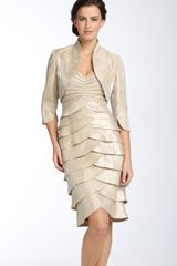 Adrianna Papell Tiered Hammered Satin Sheath Dress Bolero - Lyst