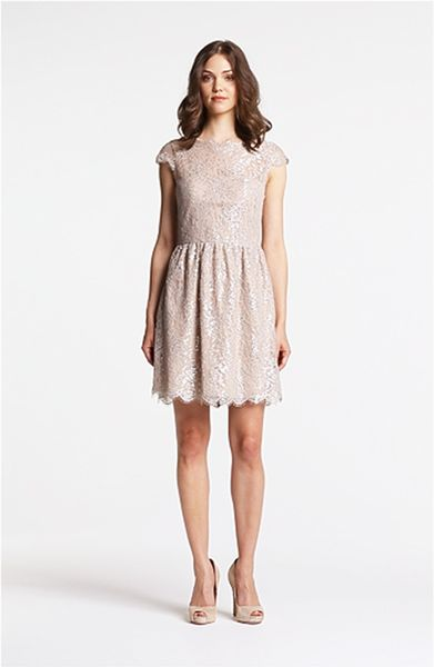 Aidan Mattox Metallic Lace Fit Flare Dress In Silver Lyst