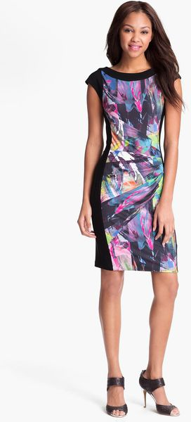 Alex & Ava Front Print Ruched Sheath Dress - Lyst