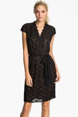 Alex Evenings Scalloped Lace Surplice Dress - Lyst