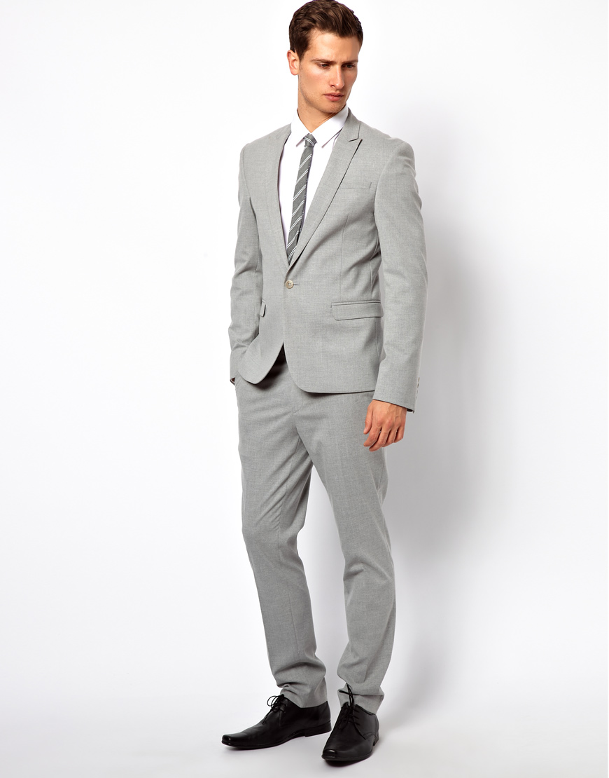 Asos Skinny Fit Suit Trousers In Grey in Gray for Men | Lyst