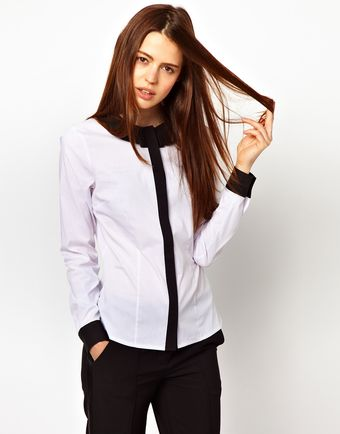 Asos Shirt with Folded Collar in Monochrome Blocking - Lyst