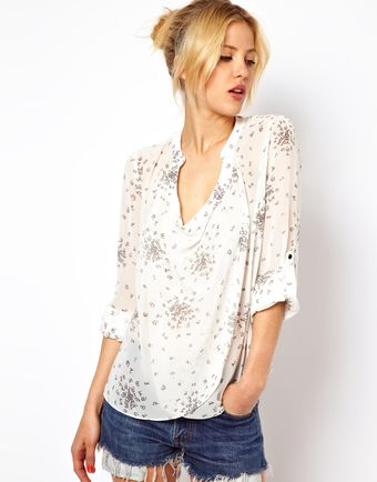 Asos Blouse with Drop Collar in Dotty Digits Print - Lyst