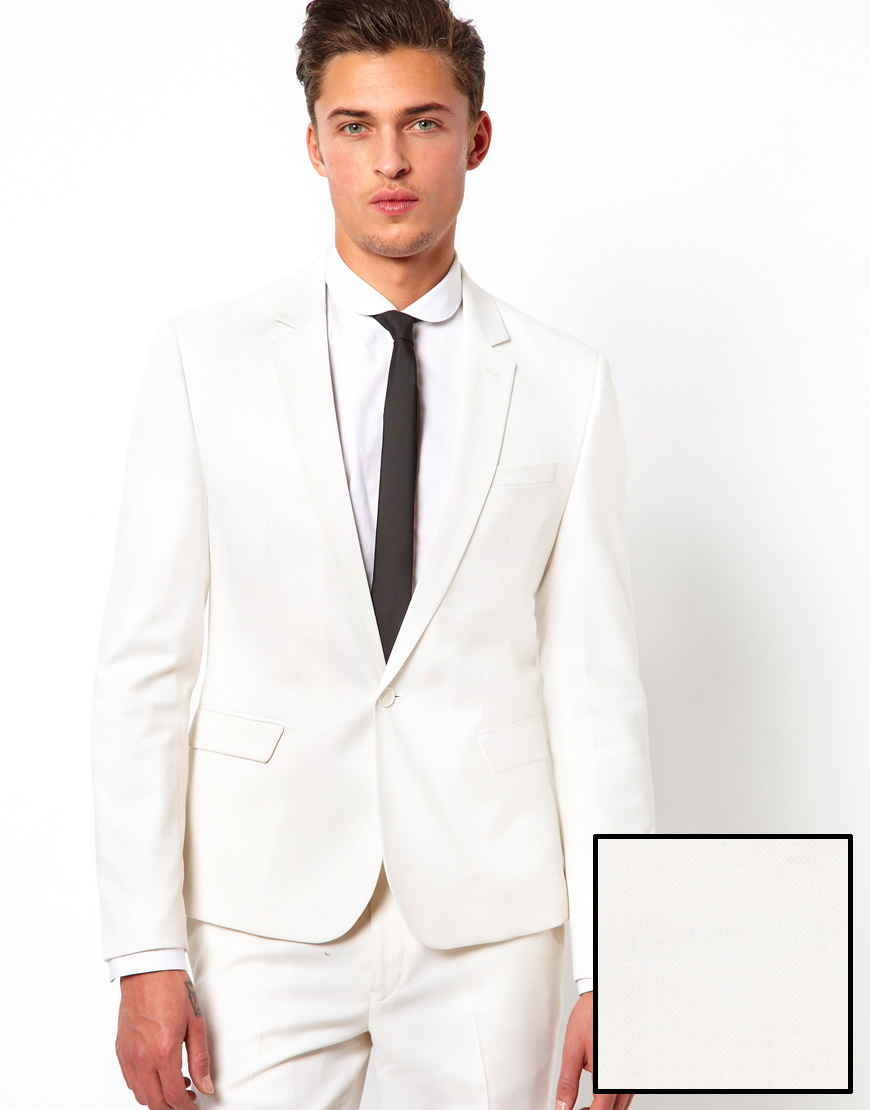 Asos Skinny Fit Suit Jacket In Polywool in White for Men | Lyst