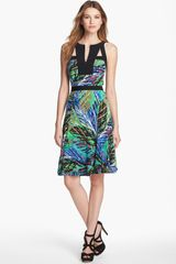 BCBGMAXAZRIA Print Cutaway Fit Flare Dress - Lyst