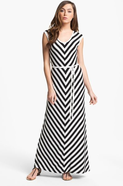 calvin klein belted stripe maxi dress in black black