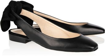 Carven Bow Detailed Leather and Suede Slingbacks - Lyst