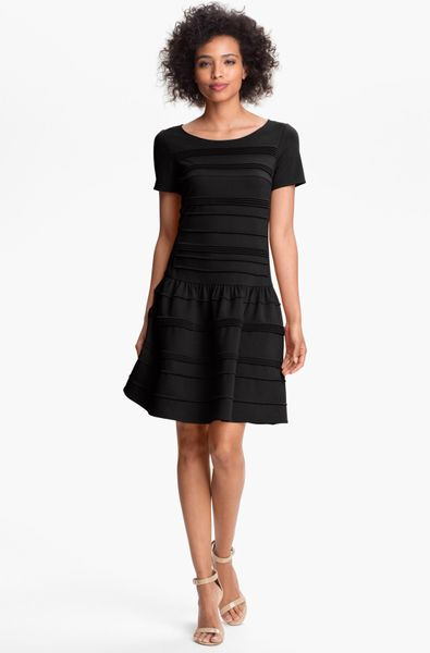 Eliza J Seamed Drop Waist Dress in Black - Lyst