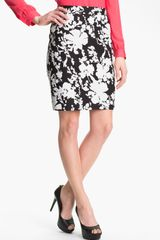 Halogen Print Stretch Cotton Blend Skirt - Lyst