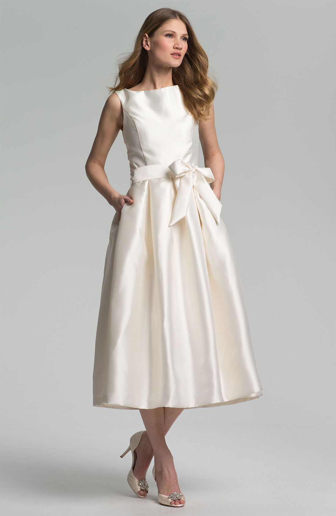 Isaac mizrahi new york faille satin fit flare dress in for New york wedding dresses online