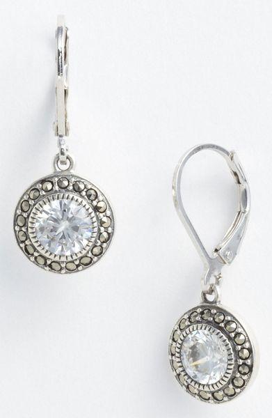 Judith Jack Marcasite Cubic Zirconia Drop Earrings In