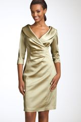 Kay Unger Stretch Satin Sheath Dress - Lyst