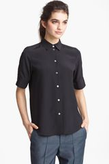 Marc Jacobs Elbow Sleeve Silk Blouse - Lyst