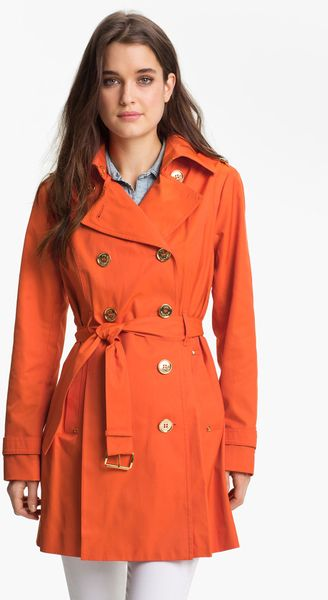 Michael Michael Kors Double Breasted Trench Coat In Orange