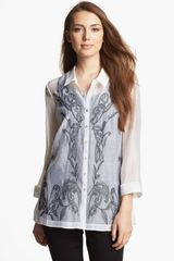 Nic + Zoe Exotic Flowers Embroidered Blouse - Lyst
