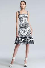 Oscar de la Renta Sketched Baroqueprint Twill Dress - Lyst