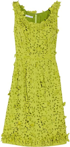 Oscar de la Renta Appliquéd Cottonlace Dress - Lyst
