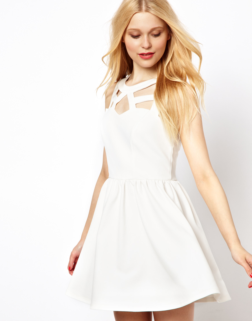 River island Cut Out Detail Skater Dress in Natural | Lyst