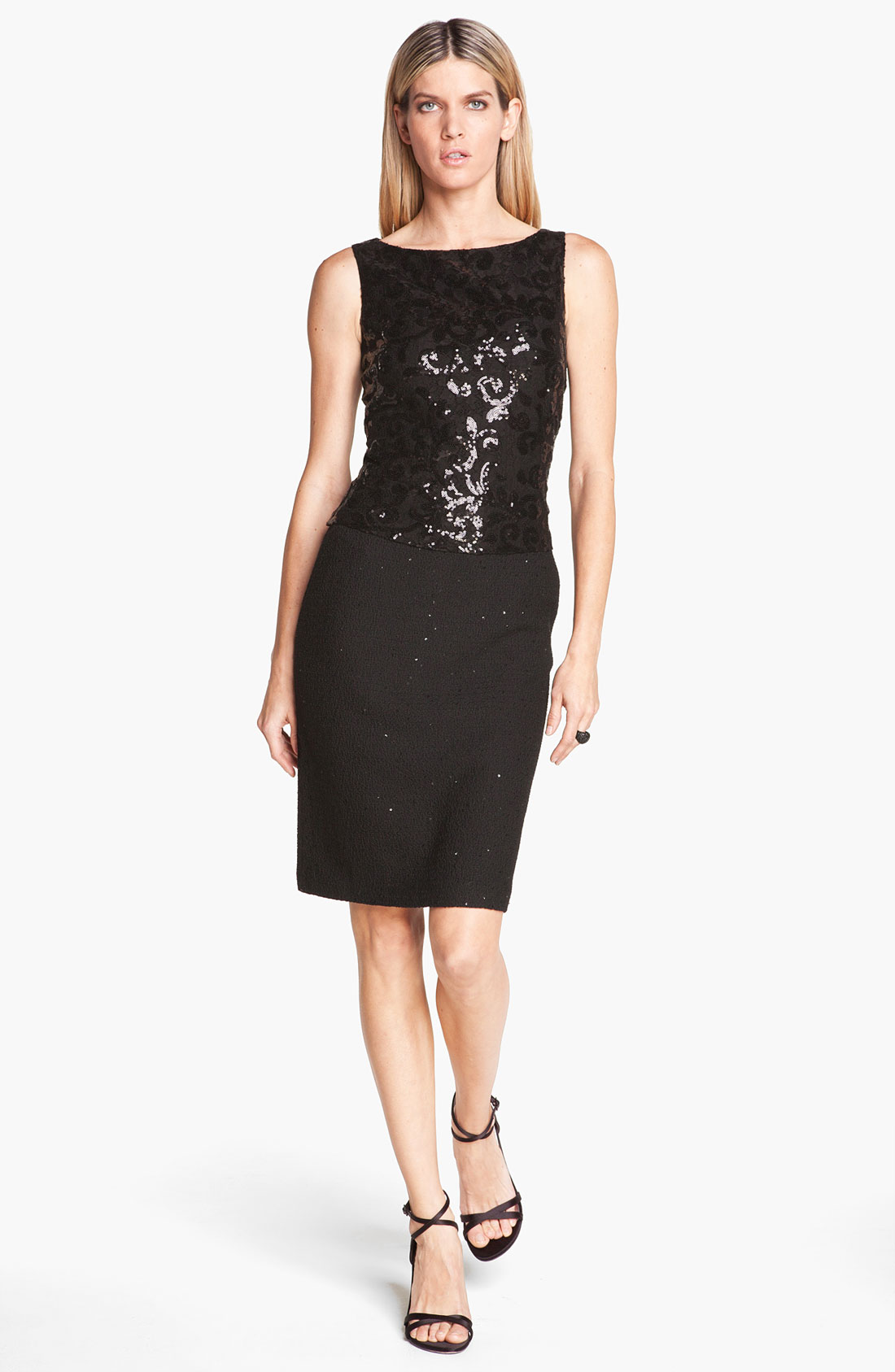 St John Collection Sequin Lace Shimmer Knit Dress In